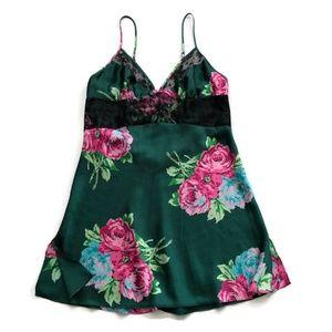 Betsey Johnson Slip Dress Silky Green Pink Floral